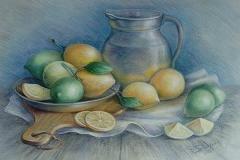Stillleben mit Zitronen. Pastell, Papier